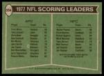 1978 Topps #334   -  Walter Payton / Errol Mann Scoring Leaders Back Thumbnail