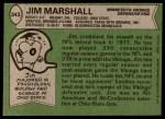 1978 Topps #343  Jim Marshall  Back Thumbnail