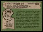 1978 Topps #451  Mick Tingelhoff  Back Thumbnail