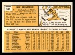 1963 Topps #341 *DOT* Jack Baldschun  Back Thumbnail