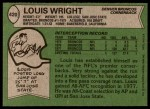 1978 Topps #420  Louis Wright  Back Thumbnail