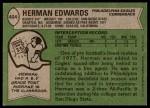 1978 Topps #404  Herman Edwards  Back Thumbnail