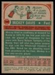 1973 Topps #107  Mickey Davis  Back Thumbnail
