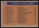 1972 Topps #261   -  Glen Combs / Louie Dampier / Warren Jabali  ABA 3-Pt Field Goal Pct Leaders Back Thumbnail