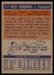 1972 Topps #212  Red Robbins   Back Thumbnail