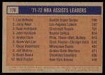1972 Topps #176   -  Nate Archibald / Jerry West / Lenny Wilkens  NBA Assist Leaders Back Thumbnail