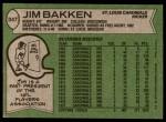 1978 Topps #347  Jim Bakken  Back Thumbnail
