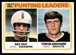 1978 Topps #336   -  Ray Guy / Tom Blanchard Punting Leaders Front Thumbnail