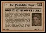 1972 Topps #442   -  Thurman Munson In Action Back Thumbnail