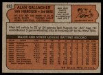 1972 Topps #693  Alan Gallagher  Back Thumbnail