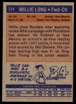 1972 Topps #214  Willie Long   Back Thumbnail