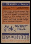 1972 Topps #77  Don Adams   Back Thumbnail