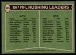1978 Topps #333   -  Walter Payton / Mark van Eeghen Rushing Leaders Back Thumbnail