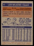 1972 Topps #81  Lenny Wilkens   Back Thumbnail