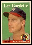 1958 Topps #10  Lew Burdette  Front Thumbnail