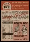 1953 Topps #192  Wally Westlake  Back Thumbnail