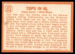 1964 Topps #423   -  Willie Mays / Hank Aaron Tops in NL Back Thumbnail