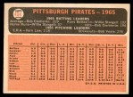 1966 Topps #404 DOT  Pirates Team Back Thumbnail
