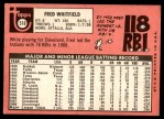 1969 Topps #518  Fred Whitfield  Back Thumbnail