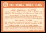 1964 Topps #378   -  Woody Woodward / Jack Smith Braves Rookies Back Thumbnail