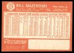 1964 Topps #570  Bill Mazeroski  Back Thumbnail