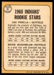 1968 Topps #16   -  Lou Piniella / Richie Scheinblum Indians Rookies Back Thumbnail