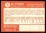1964 Topps #99  Al Stanek  Back Thumbnail