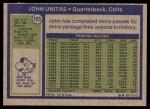 1972 Topps #165  Johnny Unitas  Back Thumbnail