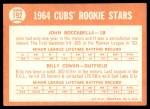 1964 Topps #192   -  Billy Cowan / John Boccabella Cubs Rookies Back Thumbnail