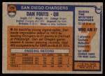 1976 Topps #128  Dan Fouts  Back Thumbnail