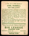 1934 Goudey #12  Carl Hubbell  Back Thumbnail