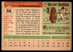 1955 Topps #56 DOT Ray Jablonski  Back Thumbnail