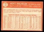 1964 Topps #13  Hoyt Wilhelm  Back Thumbnail