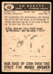 1959 Topps #48  Ed Beatty  Back Thumbnail