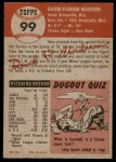 1953 Topps #99  Dave Madison  Back Thumbnail