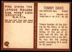 1967 Philadelphia #174  Tommy Davis  Back Thumbnail