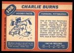 1968 Topps #108  Charlie Burns  Back Thumbnail