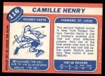 1968 Topps #116  Camille Henry  Back Thumbnail