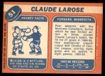 1968 Topps #51  Claude Larose  Back Thumbnail