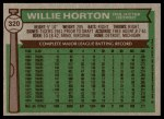 1976 Topps #320  Willie Horton  Back Thumbnail