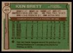 1976 Topps #401  Ken Brett  Back Thumbnail