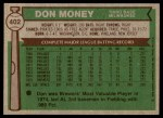 1976 Topps #402  Don Money  Back Thumbnail