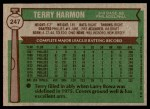 1976 Topps #247  Terry Harmon  Back Thumbnail