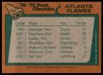 1978 Topps #192   Flames Team Checklist Back Thumbnail