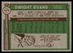 1976 Topps #575  Dwight Evans  Back Thumbnail