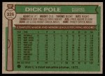 1976 Topps #326  Dick Pole  Back Thumbnail