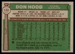 1976 Topps #132  Don Hood  Back Thumbnail