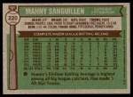 1976 Topps #220  Manny Sanguillen  Back Thumbnail