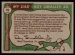 1976 Topps #70  Roy Smalley / Roy Smalley Jr .  Back Thumbnail
