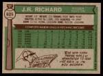 1976 Topps #625  J.R. Richard  Back Thumbnail